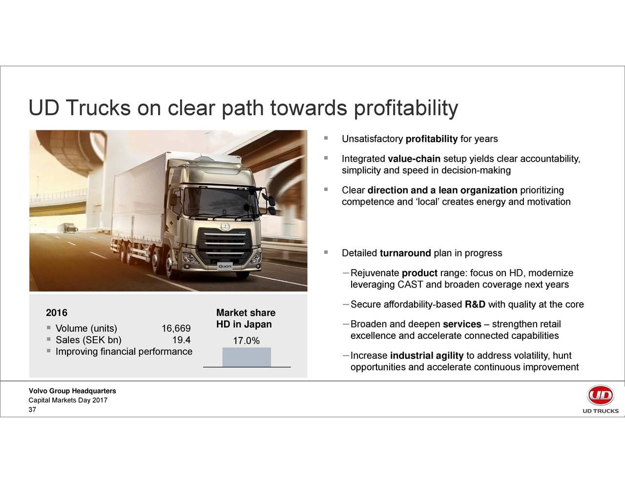 value chain analysis of volvo trucks Autonomous trucks market autonomous co, ab volvo, bmw ag participants across key points in the industry's value chain a separate analysis of prevailing.