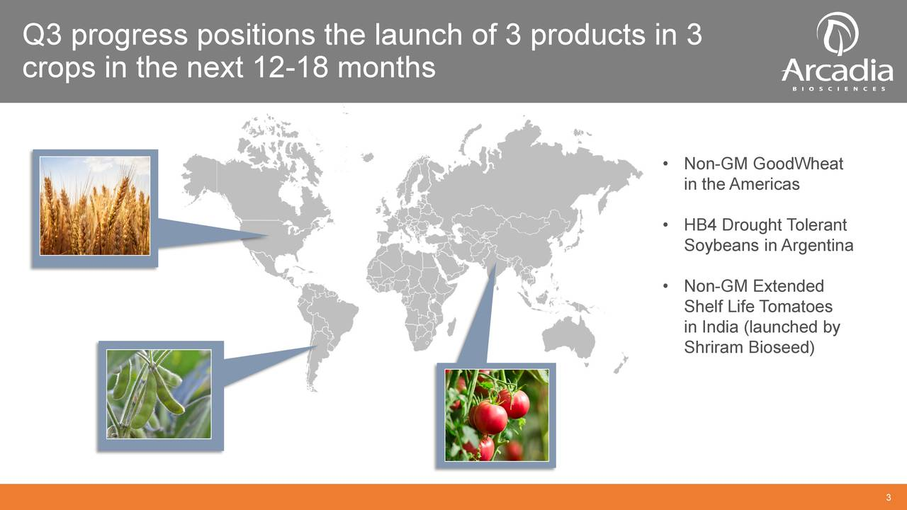 crops in the next 12-18 months • Non-GM GoodWheat in the Americas • HB4 Drought Tolerant Soybeans in Argentina • Non-GM Extended Shelf Life Tomatoes in India (launched by Shriram Bioseed)