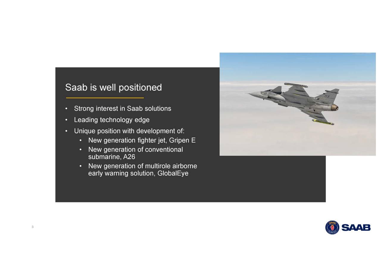 • • NegenNeaetatofnoficjt,Gnionnoe airborne Saab • iSwro•llpnirteinnoligywoigeonselopment of: 3