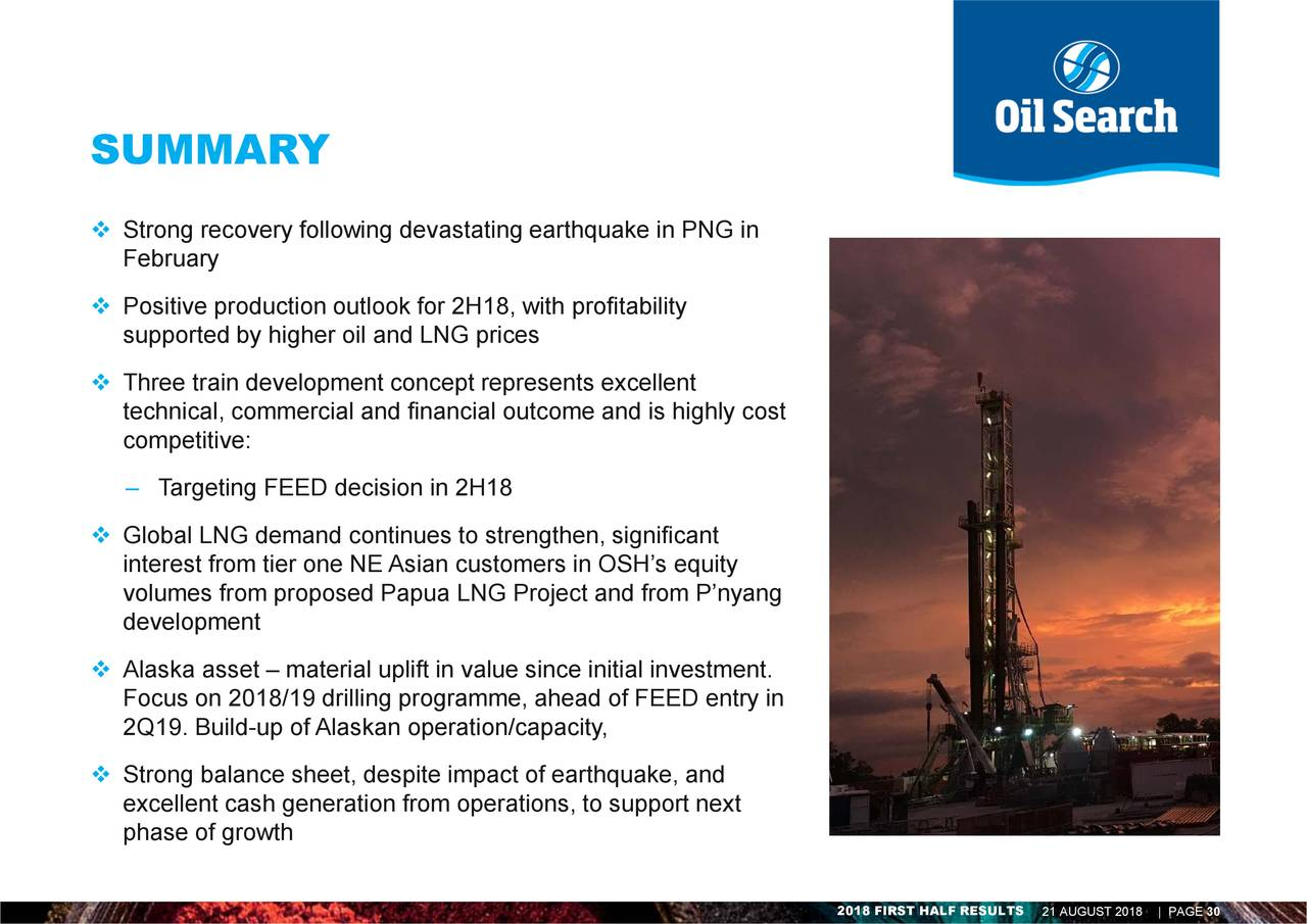 Earnings Disclaimer >> Oil Search Ltd. ADR 2018 Q2 - Results - Earnings Call Slides - Oil Search Limited (OTCMKTS:OISHY ...