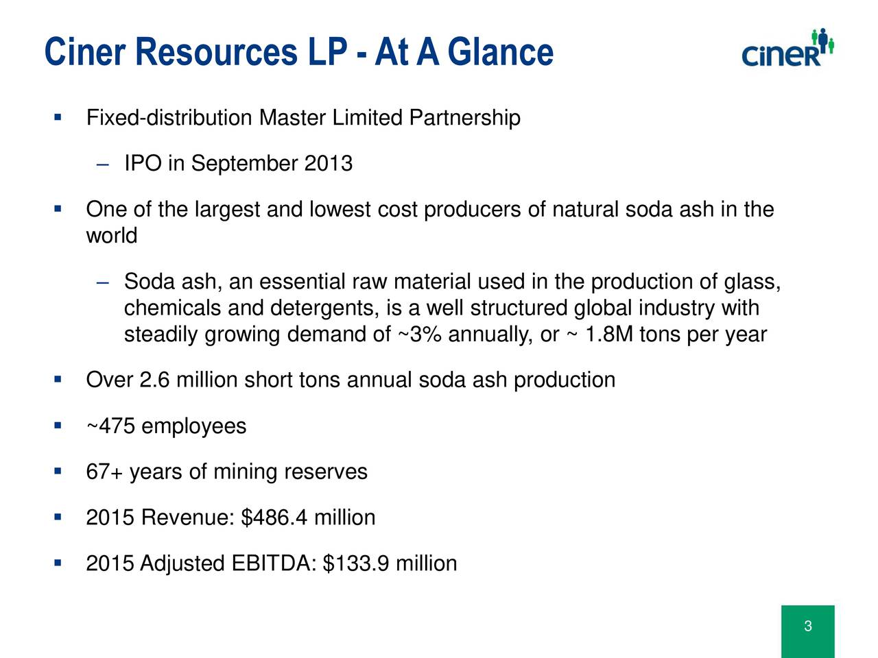 Fixed-distribution Master Limited Partnership IPO in September 2013 One of the largest and lowest cost producers of natural soda ash in the world Soda ash, an essential raw material used in the production of glass, chemicals and detergents, is a well structured global industry with steadily growing demand of ~3% annually, or ~ 1.8M tons per year Over 2.6 million short tons annual soda ash production ~475 employees 67+ years of mining reserves 2015 Revenue: $486.4 million 2015 Adjusted EBITDA: $133.9 million 3