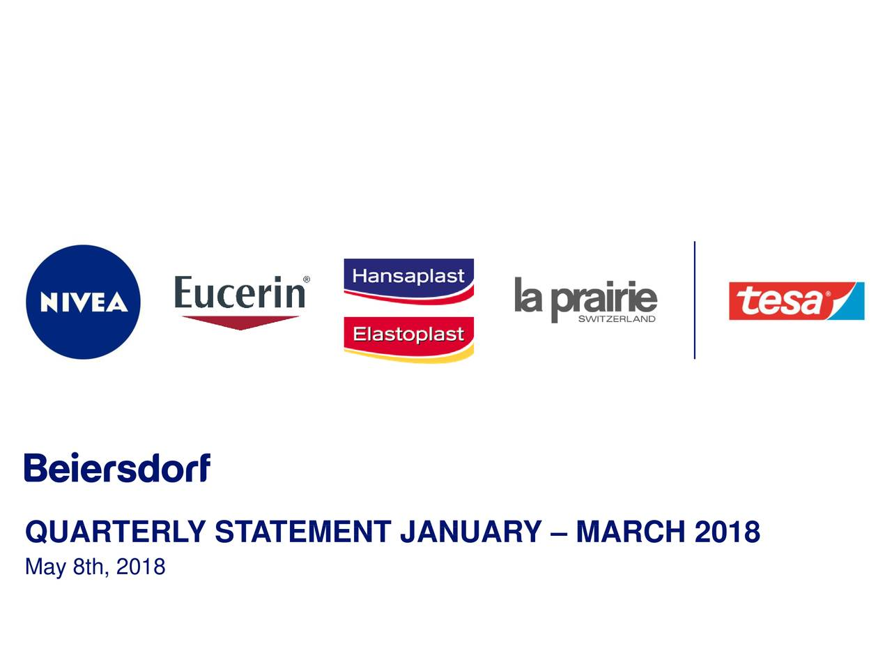 Earnings Disclaimer >> Beiersdorf AG ADR 2018 Q1 - Results - Earnings Call Slides ...