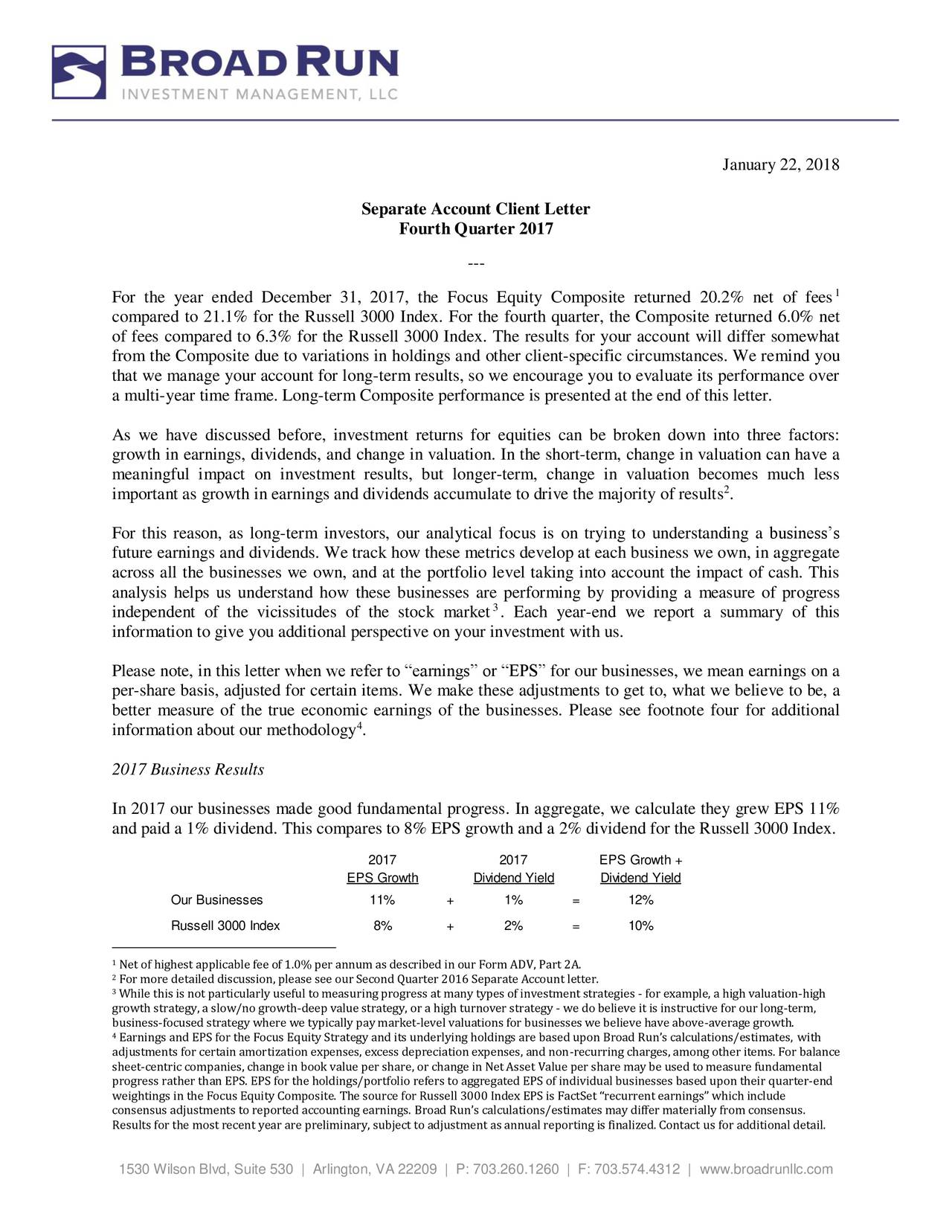 Broad Run Investment Management Llc Separate Account Client Letter
