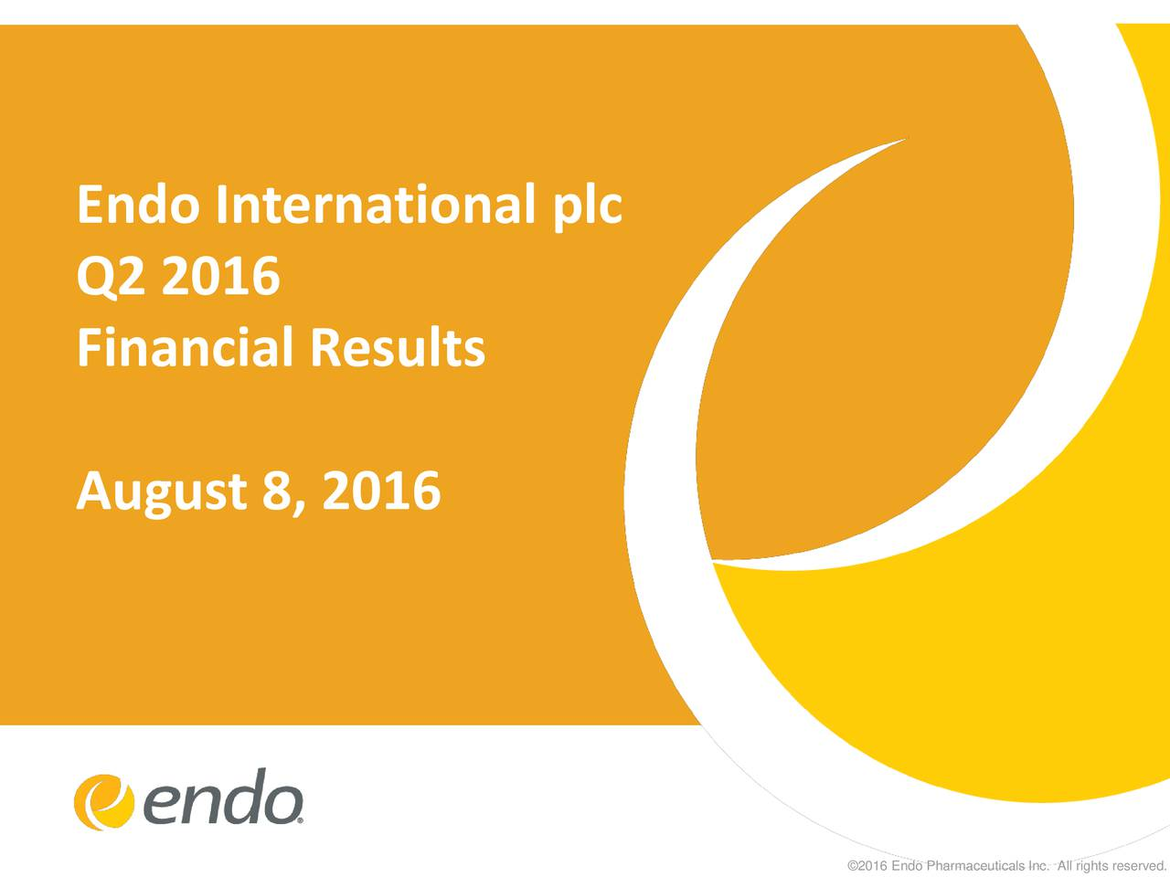Q2 2016 Financial Results August 8, 2016