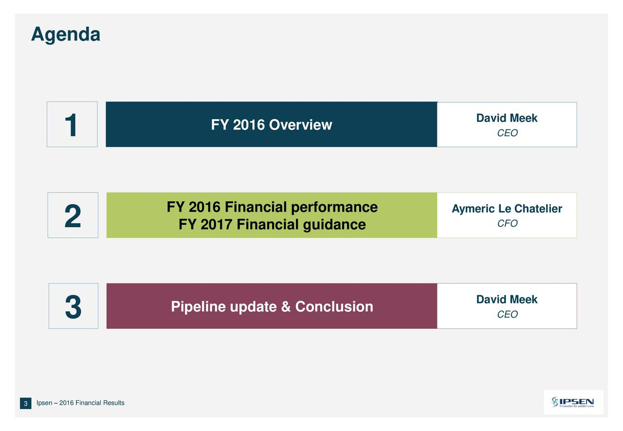 FY 2016 Overview David Meek 1 CEO FY 2016 Financial performance Aymeric Le Chatelier 2 FY 2017 Financial guidance CFO Pipeline update & Conclusion David Meek 3 CEO 33Goldman Sachs 35th Annual Global Healthcare Conference  June 2014