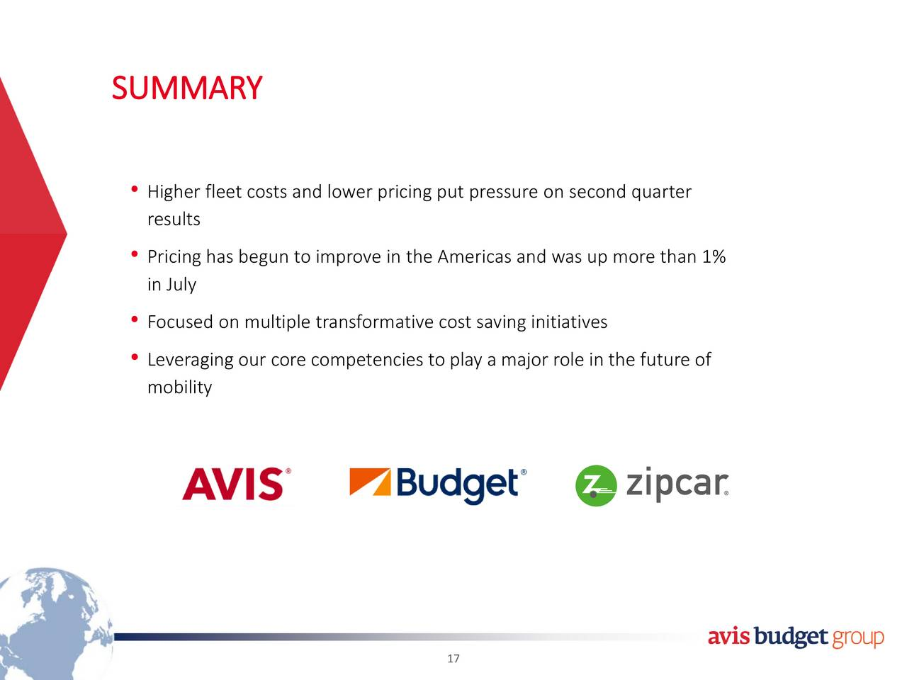 avis budget group inc 2017 q2 results earnings call slides avis budget group inc. Black Bedroom Furniture Sets. Home Design Ideas