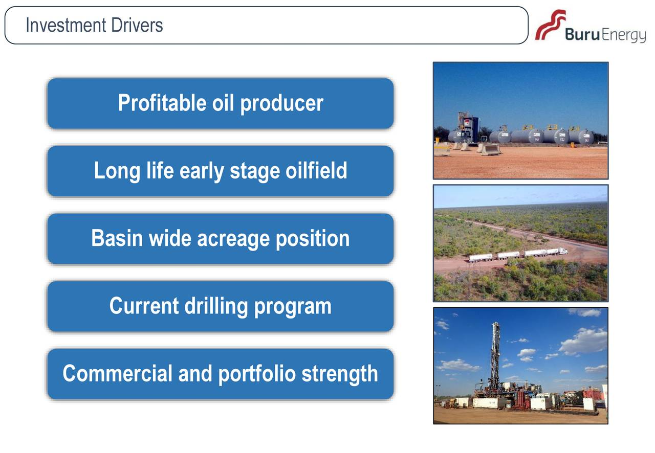 Profitable oil producer Long life early stage oilfield Basin wide acreage position Current drilling program Commercial and portfolio strength