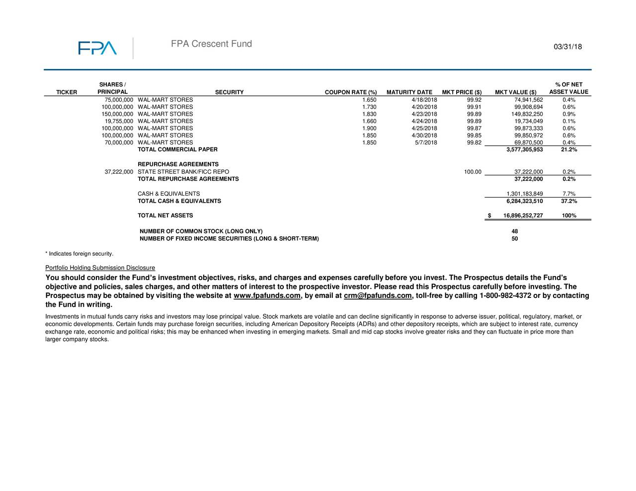 fpa crescent fund q1 2018 commentary