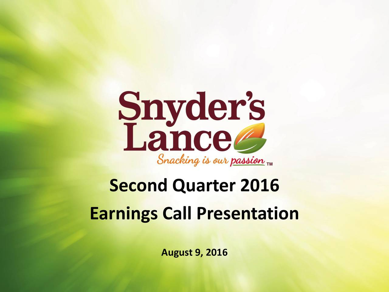 Earnings Call Presentation August 9, 2016