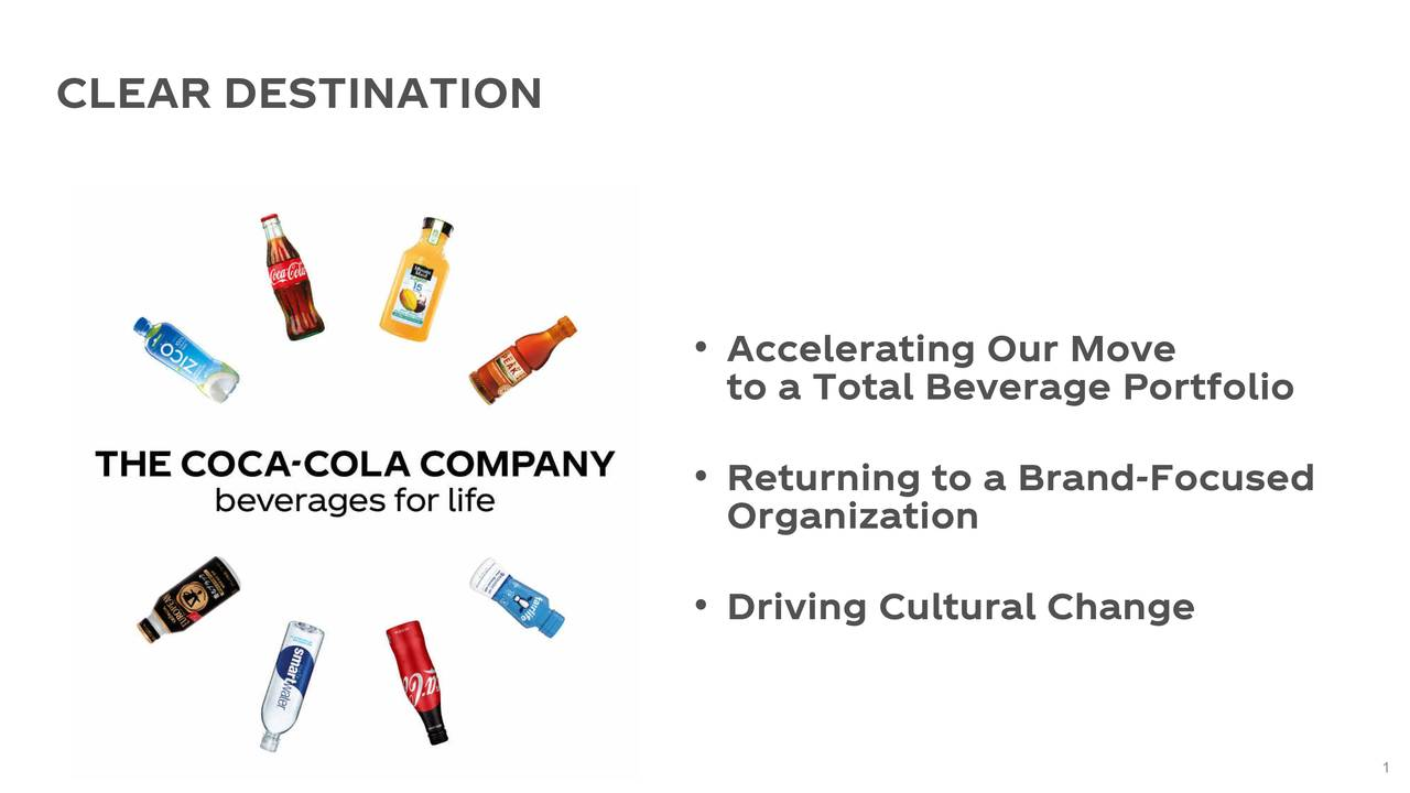 • Accelerating Our Move to a Total Beverage Portfolio • Returning to a Brand-Focused Organization • Driving Cultural Change 1