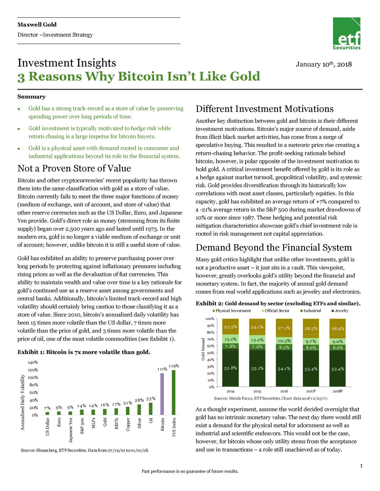 Director –Investment Strategy Investment Insights January 10 , 2018 3 Reasons Why Bitcoin Isn't Like Gold Summary  Gold has a strong track-record as a store of value by preserving Different Investment Motivations spending power over long periods of time. Another key distinction between gold and bitcoin is their different  Gold investment is typically motivated to hedge risk while investment motivations. Bitcoin's major source of demand, aside return chasing is a large impetus for bitcoin buyers. from illicit black market activities, has come from a surge of speculative buying. This resulted in a meteoric price rise creating a  Gold is a physical asset with demand rooted in consumer and industrial applications beyond its role in the financial system. return-chasing behavior. The profit-seeking rationale behind bitcoin, however, is polar opposite of the investment motivation to Not a Proven Store of Value hold gold. A critical investment benefit offered by gold is its role as a hedge against market turmoil, geopolitical volatility, and systemic Bitcoin and other cryptocurrencies' recent popularity has thrown them into the same classification with gold as a store of value. risk. Gold provides diversification through its historically low correlations with most asset classes, particularly equities. In this Bitcoin currently fails to meet the three major functions of money capacity, gold has exhibited an average return of +7% compared to (medium of exchange, unit of account, and store of value) that other reserve currencies such as the US Dollar, Euro, and Japanese a -21% average return in the S&P 500 during market drawdowns of 10% or more since 1987. These hedging and potential risk Yen provide. Gold's direct role as money (stemming from its finite mitigation characteristics showcase gold's chief investment role is supply) began over 2,500 years ago and lasted until 1973. In the rooted in risk management not capital appreciation. modern era, gold is no longer a viable me