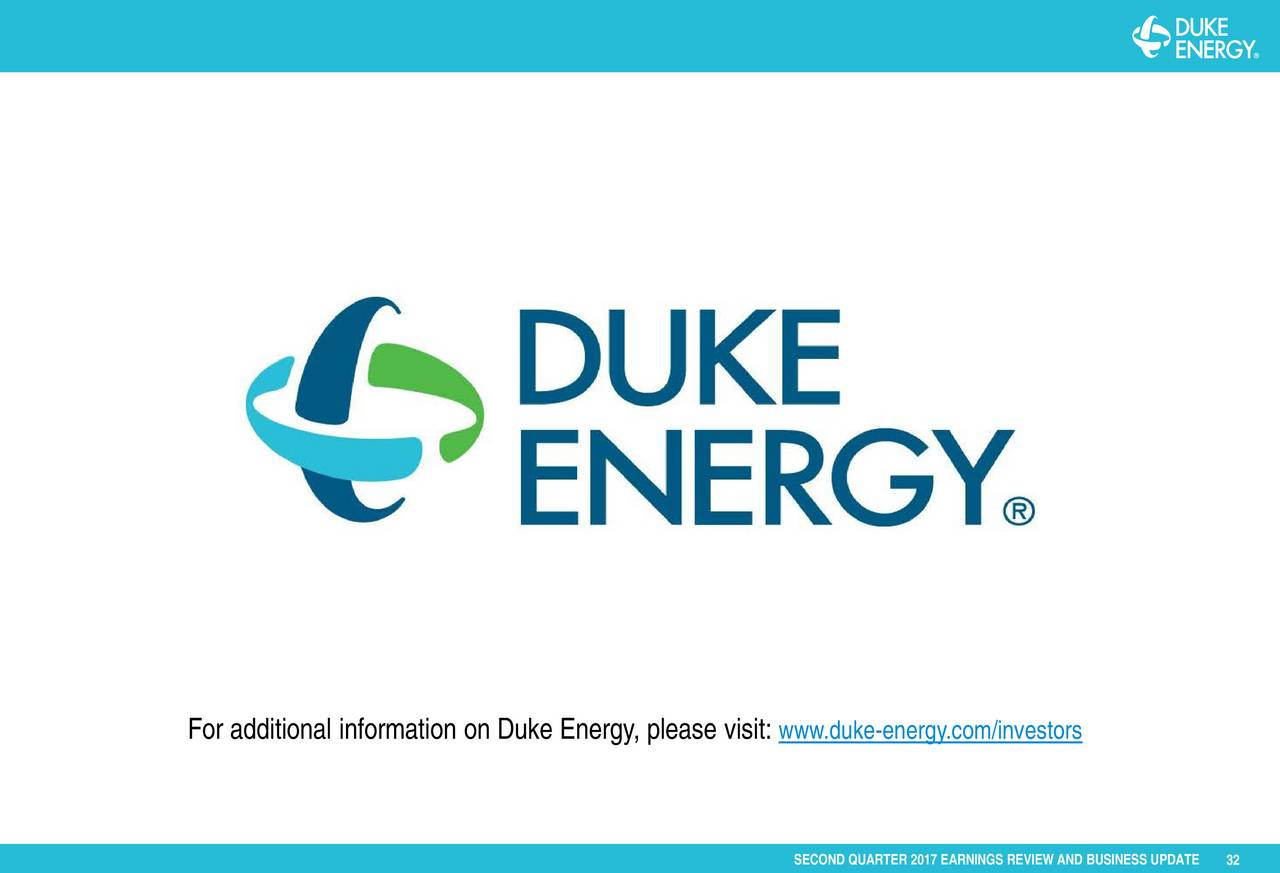 Duke Energy Stock Quote Duke Energy Corporation 2017 Q2  Results  Earnings Call Slides