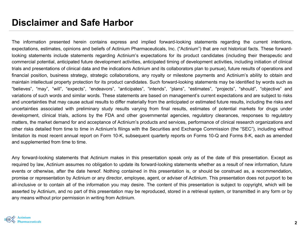 Disclaimer and Safe Harbor