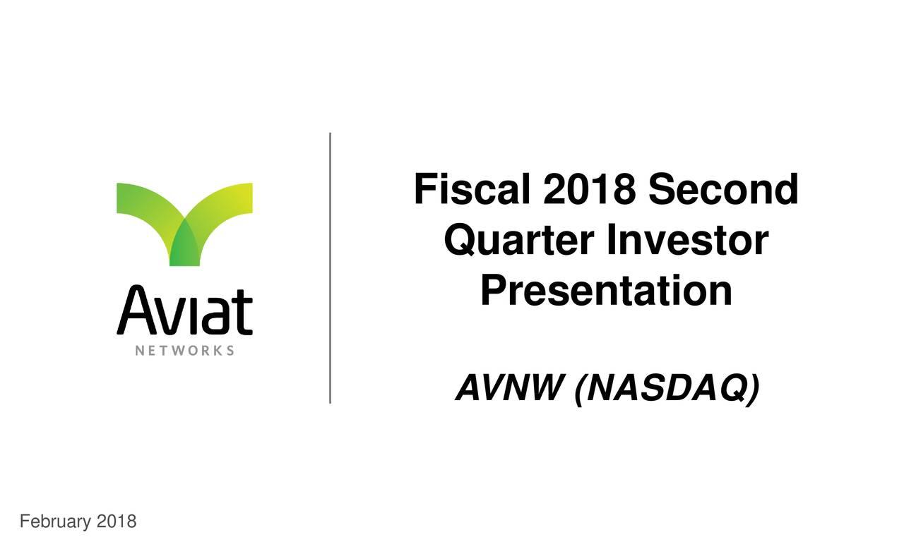 Quarter Investor Presentation AVNW (NASDAQ)