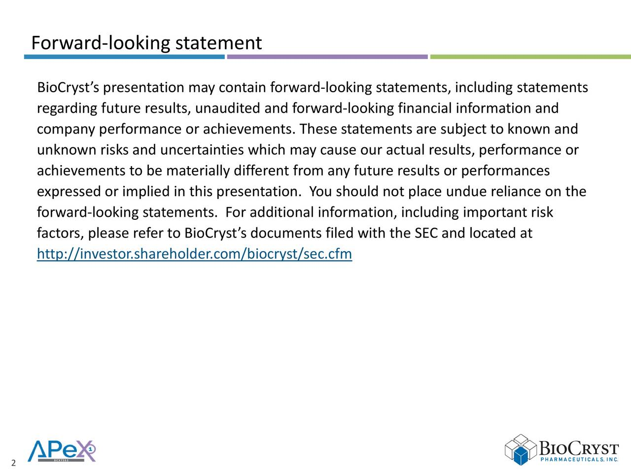 BioCrysts presentation may contain forward-looking statements, including statements regarding future results, unaudited and forward-looking financial information and company performance or achievements. These statements are subject to known and unknown risks and uncertainties which may cause our actual results, performance or achievements to be materially different from any future results or performances expressed or implied in this presentation. You should not place undue reliance on the forward-looking statements. For additional information, including important risk factors, please refer to BioCrysts documents filed with the SEC and located at http://investor.shareholder.com/biocryst/sec.cfm