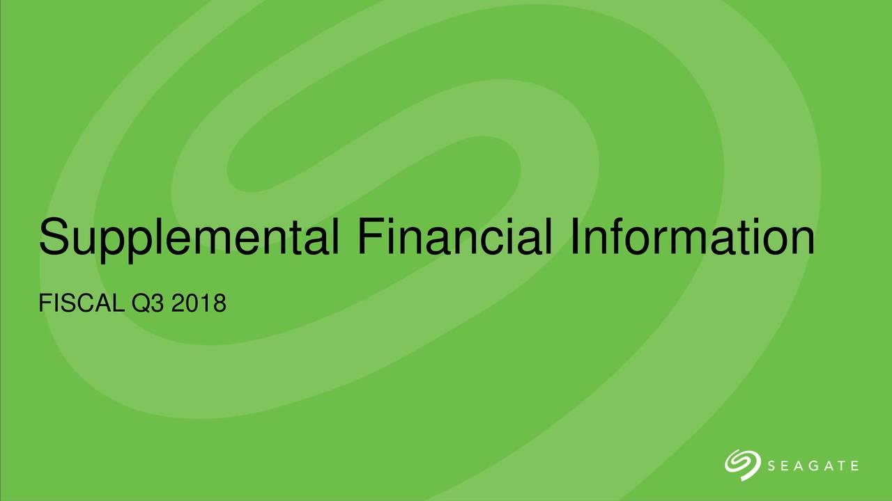 Supplemental Financial Information FISCAL Q3 2018 4/26/2018
