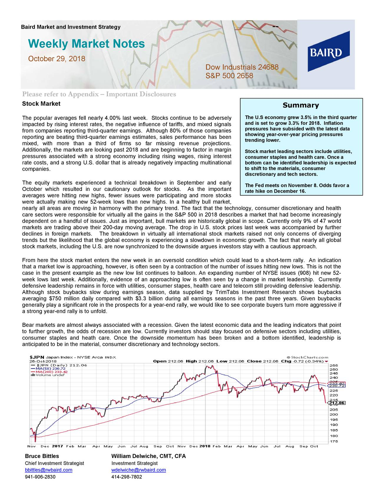Weekly Market Notes October 29, 2018 Dow Industrials 24688 S&P 500 2658 Please refer to Appendix – Important Disclosures Stock Market Summary The popular averages fell nearly 4.00% last week. Stocks continue to be adversely The U.S economy grew 3.5% in the third quarter impacted by rising interest rates, the negative influence of tariffs , and mixed signals and is set to grow 3.3% for 2018. Inflation pressures have subsided with the latest data from companies reporting third-quarter earnings. Although 80% of those companies showing year-over-year pricing pressures reporting are beating third-quarter earnings estimates, sales performance has been trending lower. mixed, with mor e than a third of firms so far missing revenue projections . Additionally, the markets are looking past 2018 and are beginning to factor in margin Stock market leading sectors include utilities, pressures associated with a strong economy including rising wages, rising interest consumer staples and health care. Once a rate costs, and a strong U.S. dollar that is already negatively impacting multinational bottom can be identified leadership is expected companies. to shift to the materials, consumer discretionary and tech sectors. The equity markets experienced a technical breakdown in September and early The Fed meets on November 8. Odds favor a October which resulted in our cautionary outlook for stocks. As the important rate hike on December 16. averages were hitting new highs , fewer issues were participating and more stocks were actually making new 52-week lows than new highs. In a healthy bull market , nearly all areas are moving in harmony with the primary trend. The fact that the technology, consumer discr etionary and health care sectors were responsible for virtually all the gains in the S&P 500 in 2018 describes a market that had become increasingly dependent on a handful of issues. Just as important, bull markets are historically global in scope. Currenly only 9% of 47 world markets a