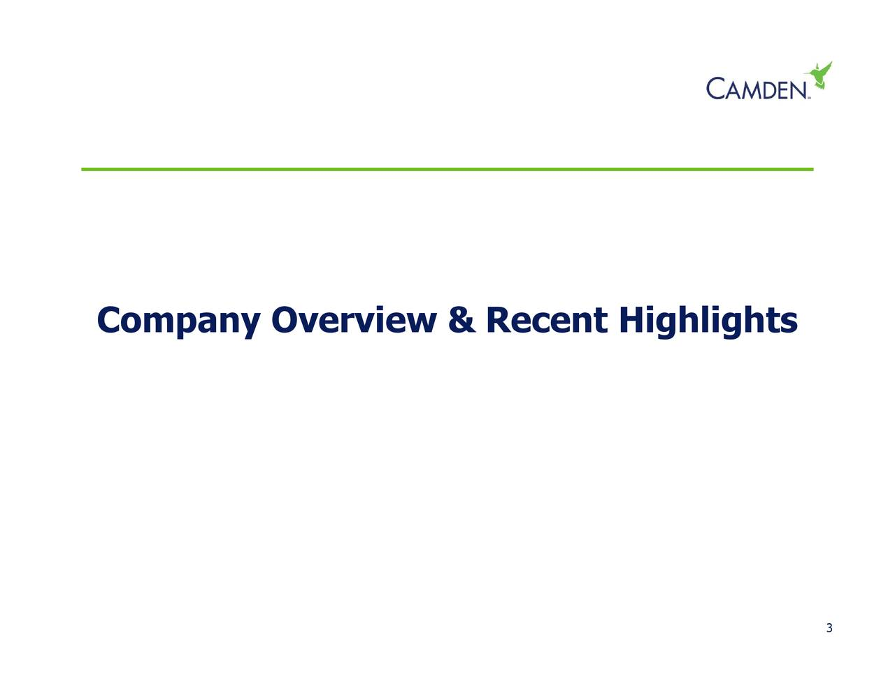 Company Overview & Recent Highlights