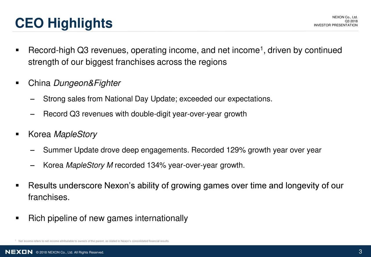 Nexon Co Ltd  2018 Q3 - Results - Earnings Call Slides