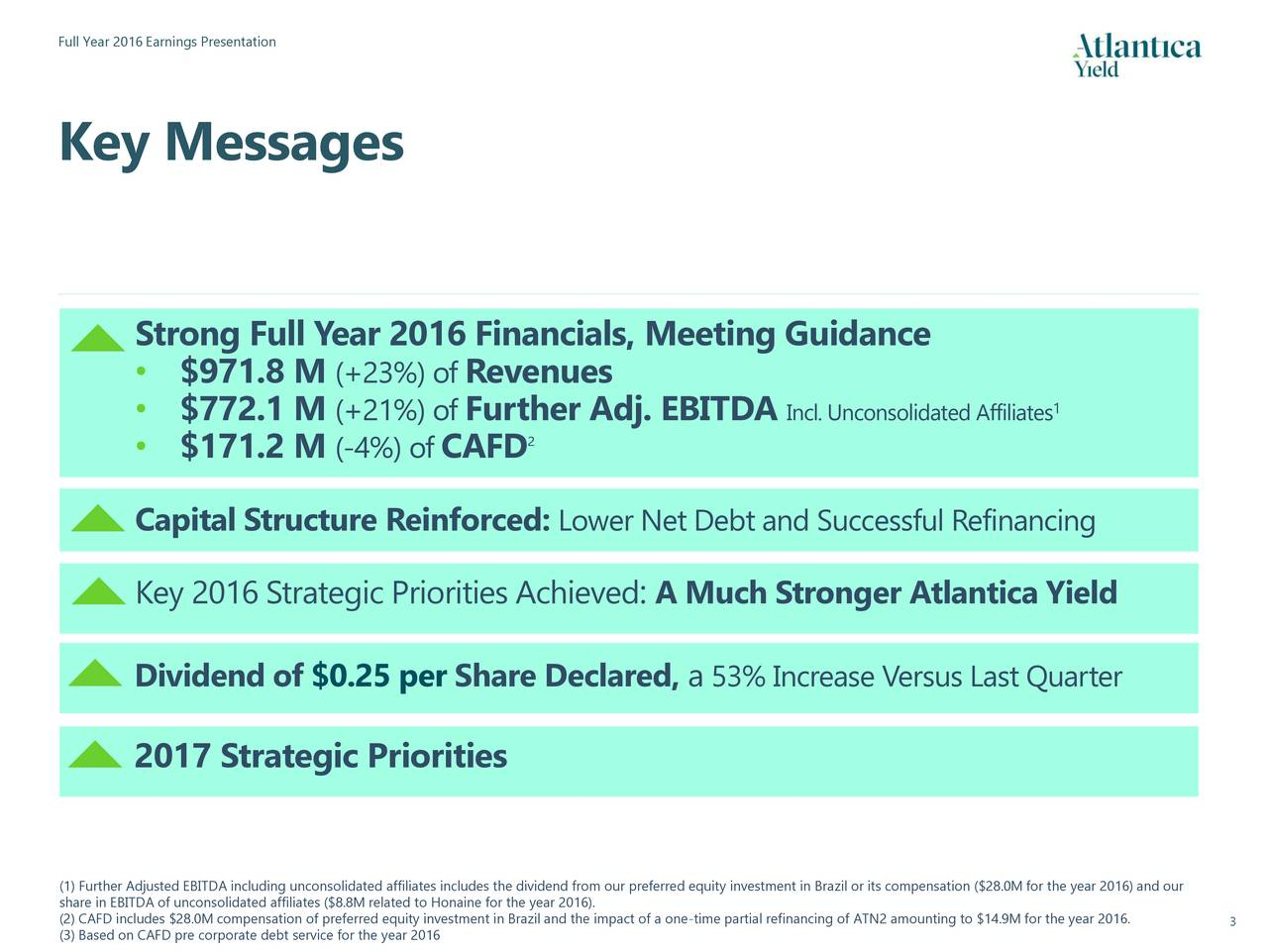 Key Messages Strong Full Y ear 2016 Financials, Meeting Guidance $971.8 M (+23%) of Revenues $772.1 M (+21%) of Further Adj. EBITDA Incl. Unconsolidated Affiliates $171.2 M (-4%) of CAFD 2 Capital Structure Reinforced: Lower Net Debt and Successful Refinancing Key 2016 Strategic Priorities Achieved : A Much Stronger Atlantica Yield Dividend of $0.25 per Share Declared, a 53% Increase Versus Last Quarter 2017 Strategic Priorities share in EBITDA of unconsolidated affiliates ($8.8M related to Honaine for the year 2016). our preferred equity investment in Brazil or its compensation ($28.0M for the year 2016) and our (2) CAFD includes $28.0M compensation of preferred equity investment in Brazil and the impact3of a one-time partial refinancing of ATN2 amounting to $14.9M for the year 2016.