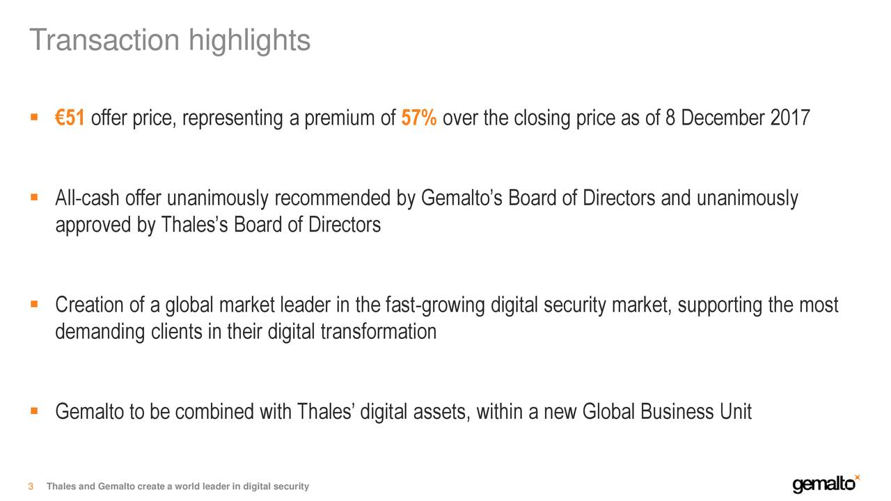 Gemalto N V  (GTOFF) To Be Acquired By Thales - Slideshow