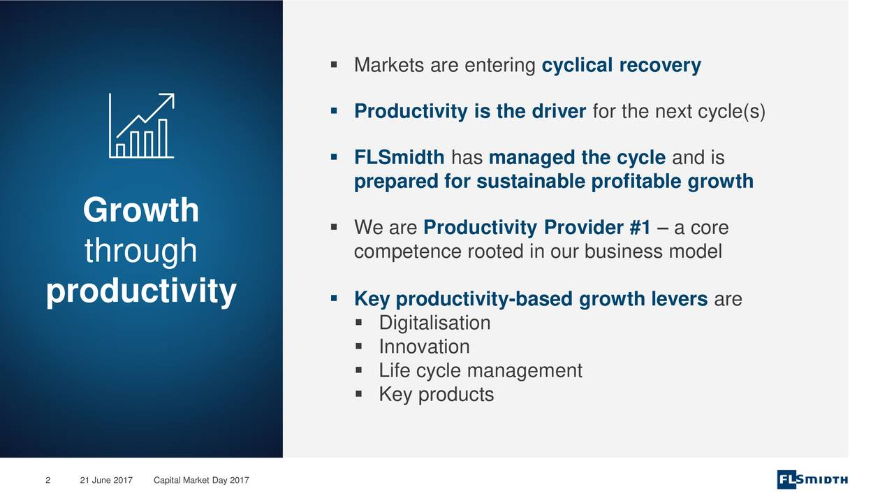 Productivity is the driver for the next cycle(s) FLSmidth has managed the cycle and is prepared for sustainable profitable growth Growth We are Productivity Provider #1  a core competence rooted in our business model through productivity  Key productivity-based growth levers are Digitalisation Innovation Life cycle management Key products 2 21 JuneCapital Market Day 2017