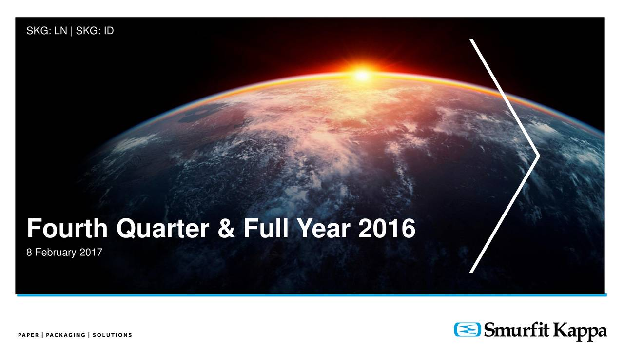 Fourth Quarter & Full Year 2016 8 February 2017