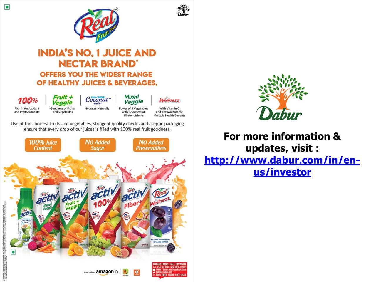 annual report fro dabur india limited For dabur india limited dr anand c burman, chairman pd narang, whole-time director sunil duggal, whole-time director ak jain , senior we report that the condensed consolidated financial statements have been prepared by the dabur india ltd's management in accordance with the.
