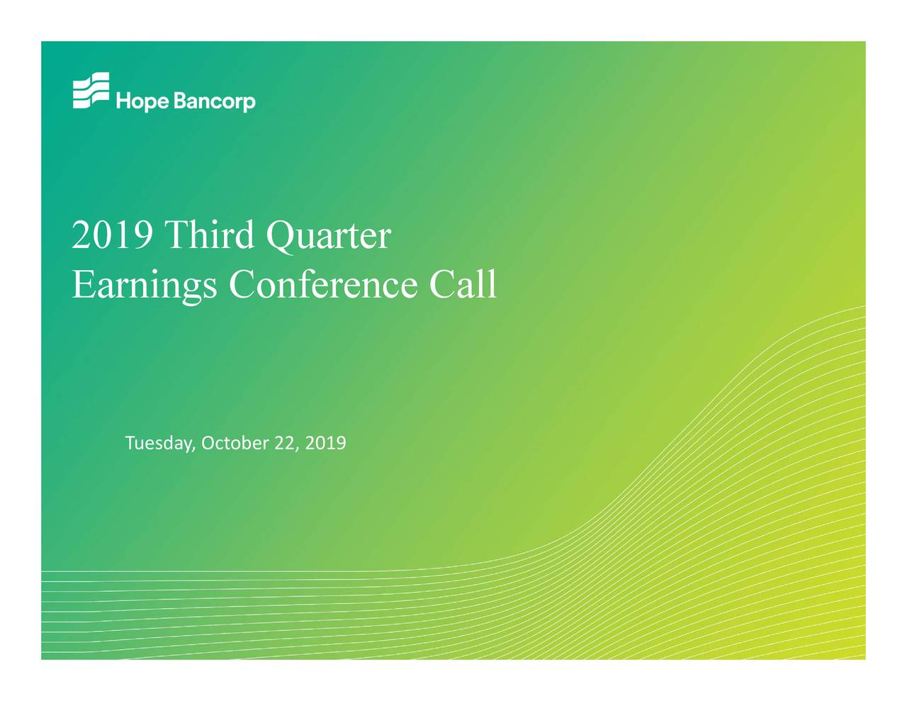Hope Bancorp, Inc. 2019 Q3 - Results - Earnings Call Presentation