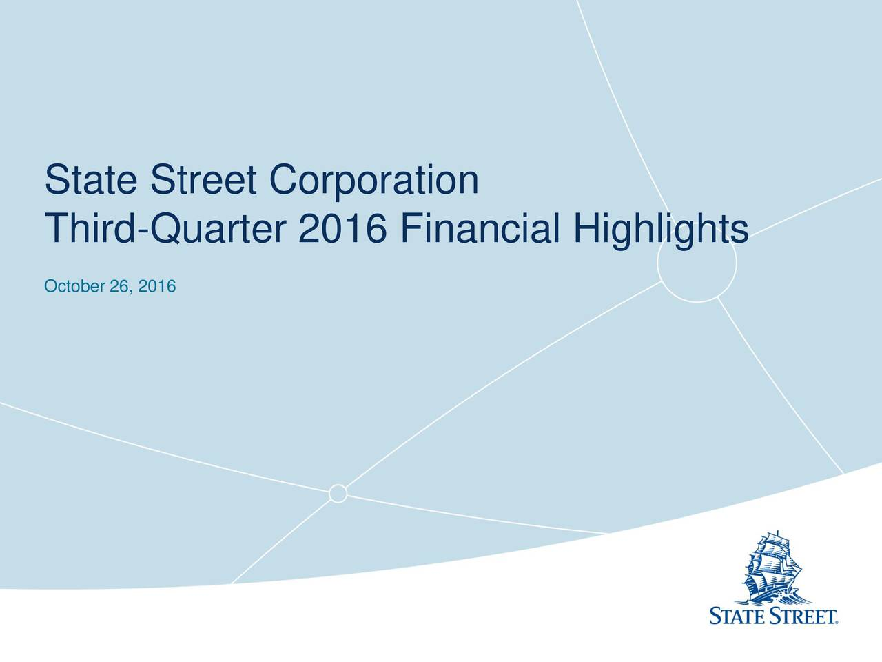 State Street Corporation 2016 Q3 - Results