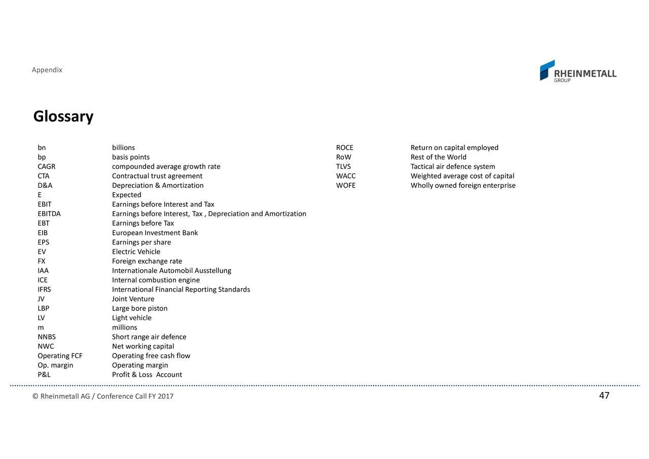 Rheinmetall Ag Adr 2017 Q4 Results Earnings Call Slides
