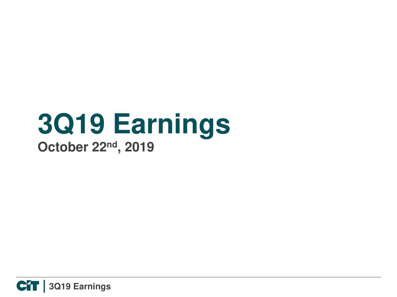 CIT Group Inc. 2019 Q3 - Results - Earnings Call Presentation
