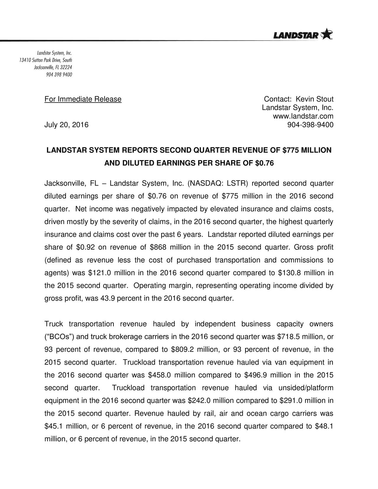 Landstar System, Inc. www.landstar.com July 20, 2016 904-398-9400 LANDSTAR SYSTEM REPORTS SECOND QUARTER REVENUE OF $775 MILLION AND DILUTED EARNINGS PER SHARE OF $0.76 Jacksonville, FL  Landstar System, Inc. (NASDAQ: LSTR) reported second quarter diluted earnings per share of $0.76 on revenue of $775 million in the 2016 second quarter. Net income was negatively impacted by elevated insurance and claims costs, driven mostly by the severity of claims, in the 2016 second quarter, the highest quarterly insurance and claims cost over the past 6 years. Landstar reported diluted earnings per share of $0.92 on revenue of $868 million in the 2015 second quarter. Gross profit (defined as revenue less the cost of purchased transportation and commissions to agents) was $121.0 million in the 2016 second quarter compared to $130.8 million in the 2015 second quarter. Operating margin, representing operating income divided by gross profit, was 43.9 percent in the 2016 second quarter. Truck transportation revenue hauled by independent business capacity owners (BCOs) and truck brokerage carriers in the 2016 second quarter was $718.5 million, or 93 percent of revenue, compared to $809.2 million, or 93 percent of revenue, in the 2015 second quarter. Truckload transportation revenue hauled via van equipment in the 2016 second quarter was $458.0 million compared to $496.9 million in the 2015 second quarter. Truckload transportation revenue hauled via unsided/platform equipment in the 2016 second quarter was $242.0 million compared to $291.0 million in the 2015 second quarter. Revenue hauled by rail, air and ocean cargo carriers was $45.1 million, or 6 percent of revenue, in the 2016 second quarter compared to $48.1 million, or 6 percent of revenue, in the 2015 second quarter.