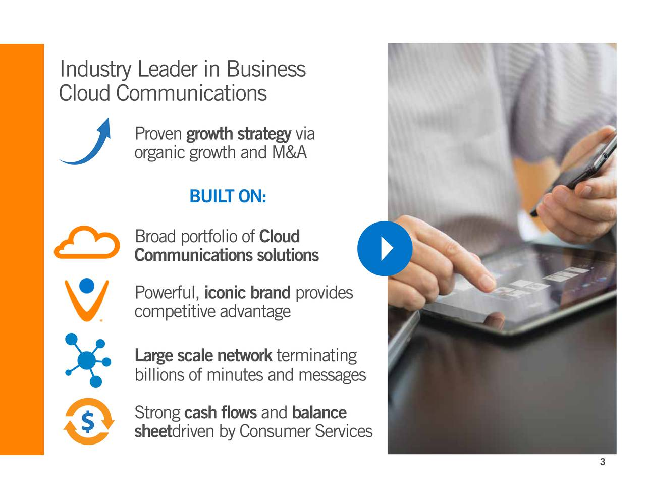 Cloud Communications Provengrowth strategy via organic growth and M&A BUILT ON: Broad portfolio of Cloud Communications solutions Powerful,iconic brand provides competitive advantage Large scale network terminating billions of minutes and messages Strongcash flows and balance sheetdriven by Consumer Services 3