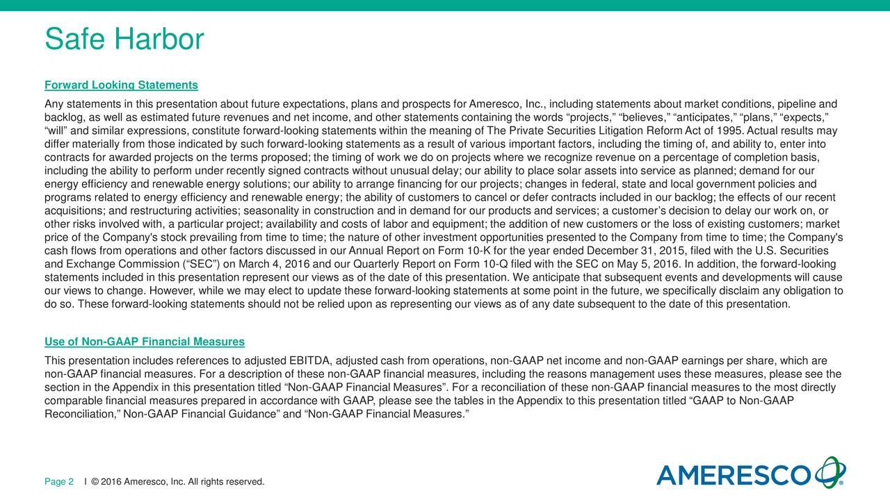 Ameresco Amrc Investor Presentation Slideshow