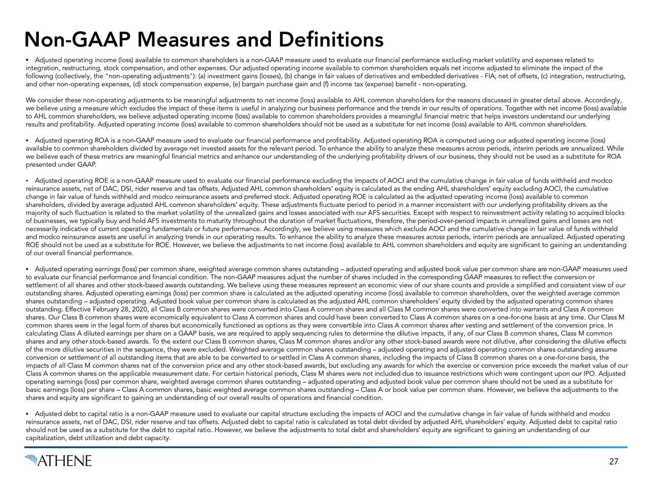 Medidas y definiciones que no son PCGA