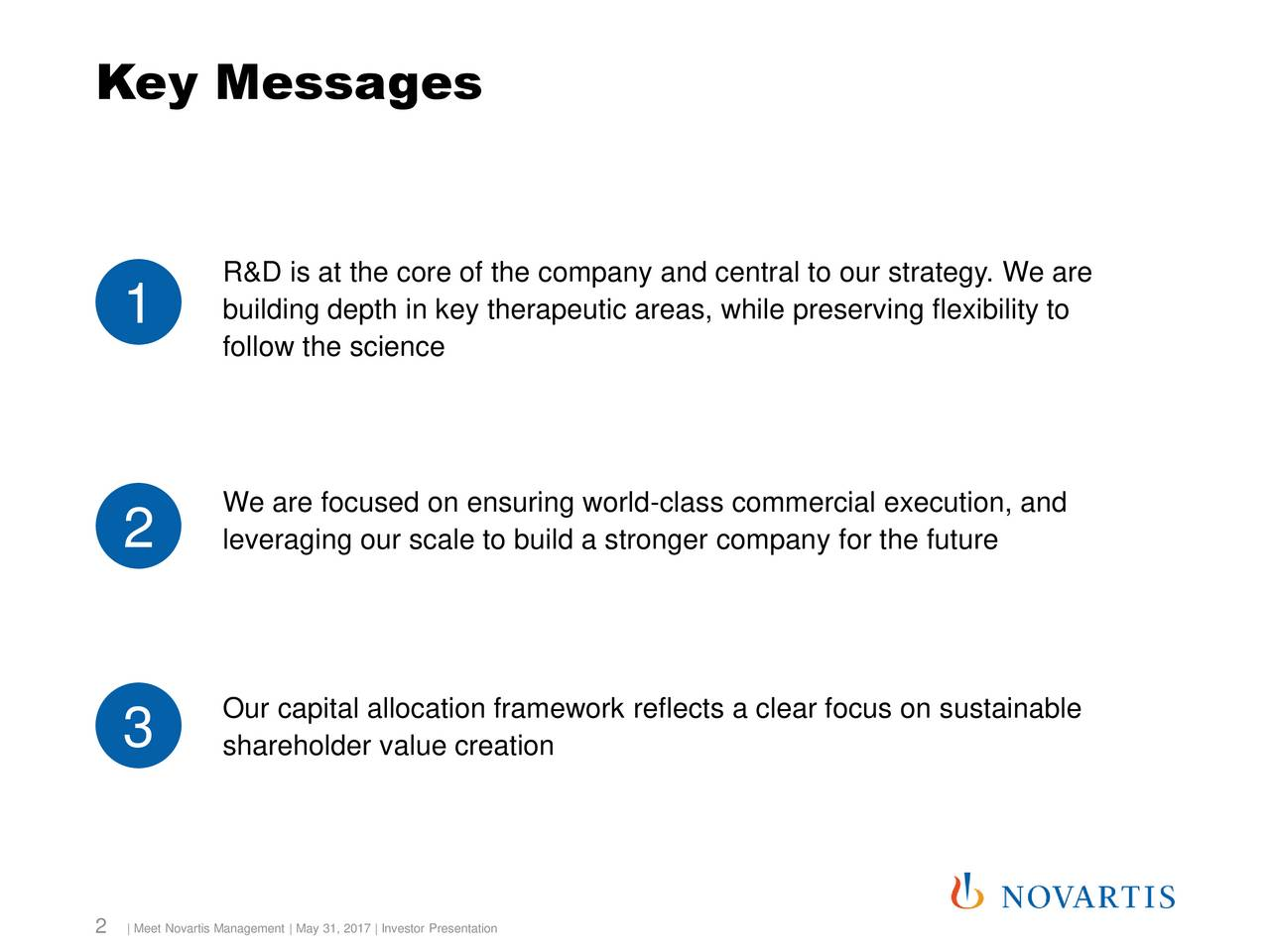 R&D is at the core of the company and central to our strategy. We are 1 building depth in key therapeutic areas, while preserving flexibility to follow the science We are focused on ensuring world-class commercial execution, and 2 leveraging our scale to build a stronger company for the future Our capital allocation framework reflects a clear focus on sustainable 3 shareholder value creation 2 | Meet Novartis Management | May 31, 2017 | Investor Presentation
