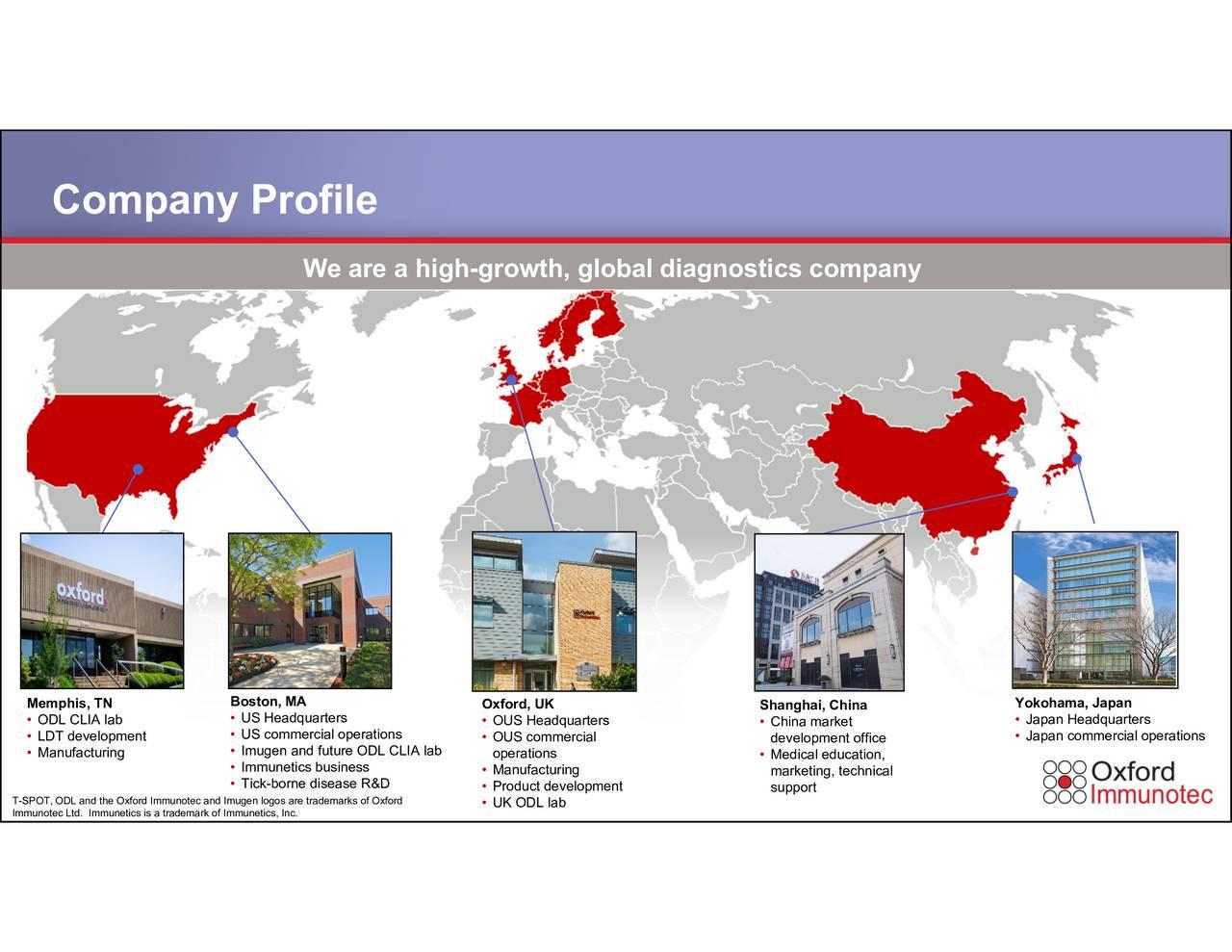 Yokohama, Japan ChineMeadkeletortitcnn, ical Shanghai, China 3 OUO SUSpadatmfrrtsliLgaopment Oxford, marks of Oxford We are a high-growth, global diagnostics company USUHSIaumgTnrr-tlunursiiasseRLIDlab Bostn,MA rademark of Immunetics, Inc. Company Profile ODLLDMTdIevaoturient Memp , TN T-SPOT, ODL and the Oxford Immunotec and Imugen logos are trade