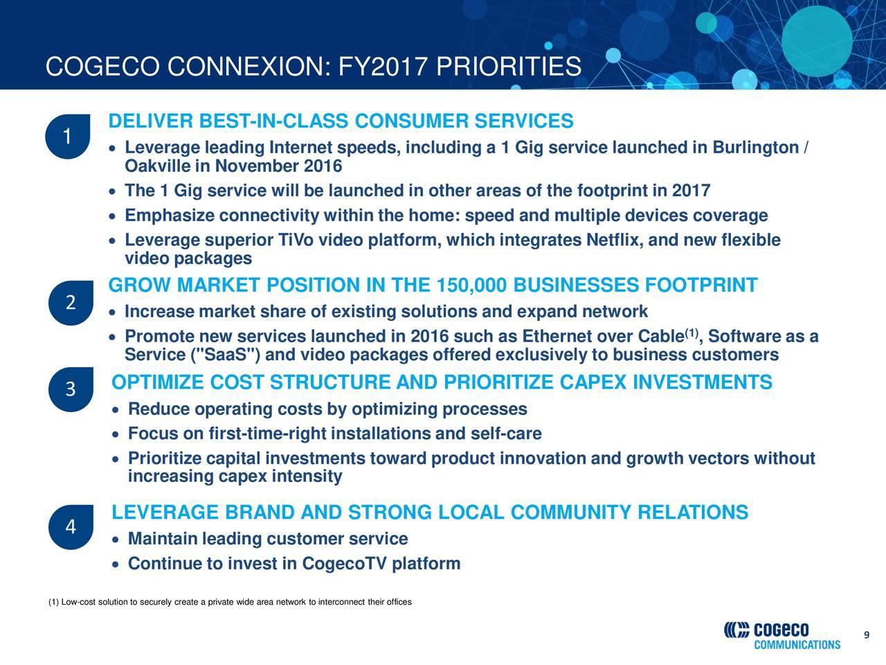 Cogeco Communications Inc 2017 Q1 Results Earnings