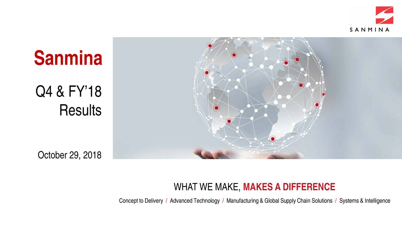 Q4 & FY'18 Results October 29, 2018 WHAT WE MAKE, MAKES A DIFFERENCE Concept to Delivery / Advanced Technology / Manufacturing & Global Supply Chain Solutions / Systems & Intelligence