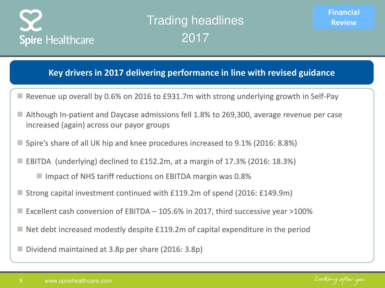 Spire healthcare group plc 2017 q4 results earnings call slides spire healthcare group plc - Cash metal tarif ...