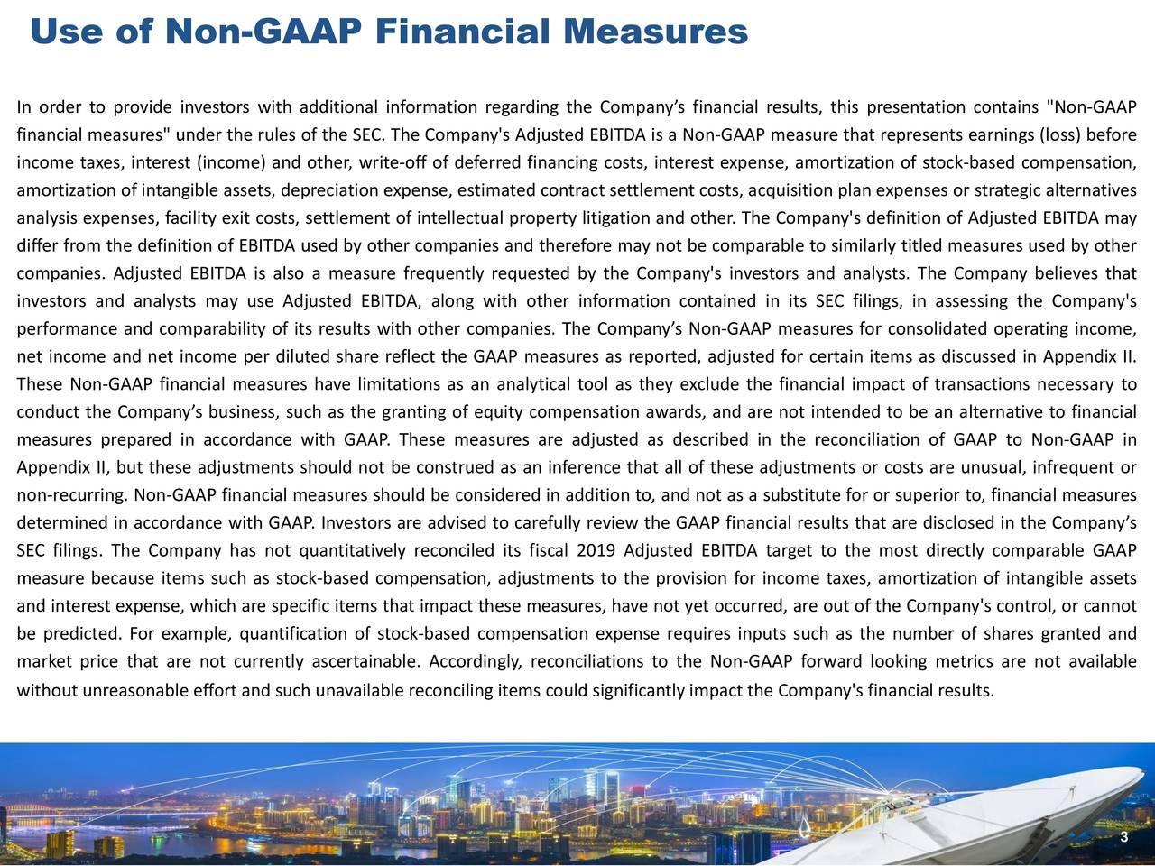 Use of Non-GAAP Financial Measures
