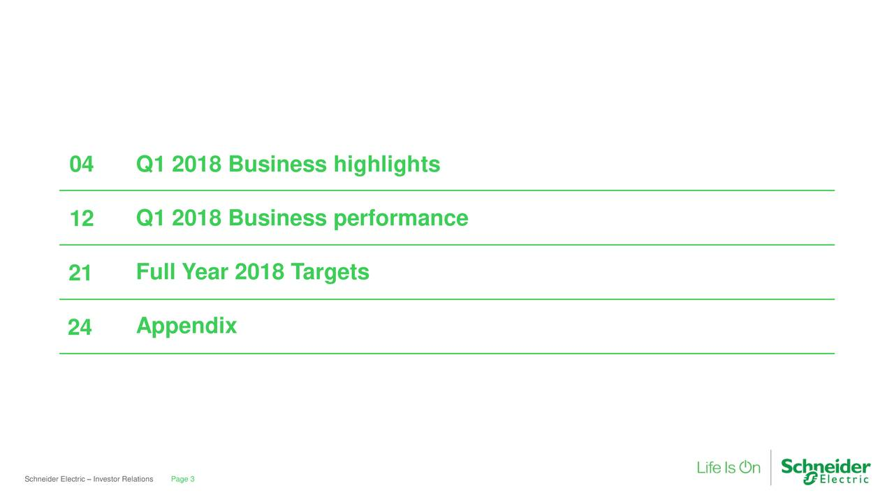 12 Q1 2018 Business performance 21 Full Year 2018 Targets 24 Appendix Schneider ElectPage 3Investor Relations