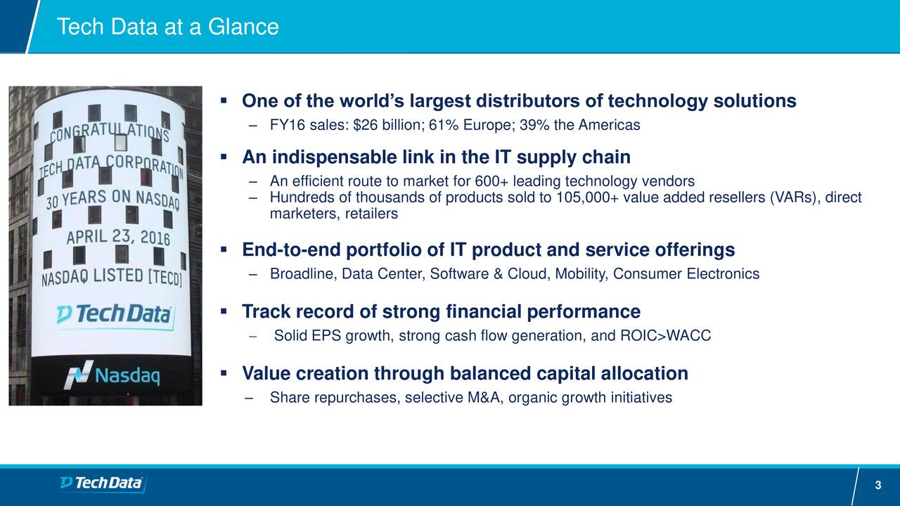 One of the worlds largest distributors of technology solutions FY16 sales: $26 billion; 61% Europe; 39% the Americas An indispensable link in the IT supply chain An efficient route to market for 600+ leading technology vendors Hundreds of thousands of products sold to 105,000+ value added resellers (VARs), direct marketers, retailers End-to-end portfolio of IT product and service offerings Broadline, Data Center, Software & Cloud, Mobility, Consumer Electronics Track record of strong financial performance Solid EPS growth, strong cash flow generation, and ROIC>WACC Value creation through balanced capital allocation Share repurchases, selective M&A, organic growth initiatives 3