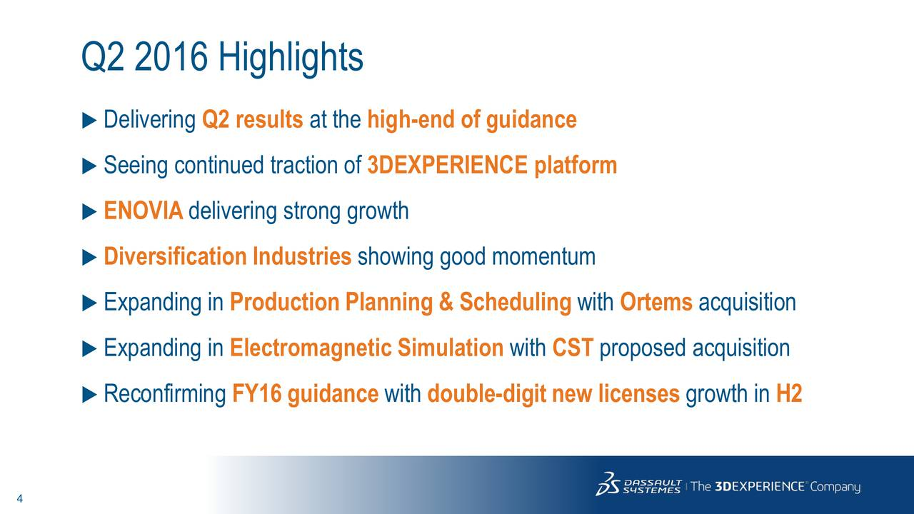 Delivering Q2 results at the high-end of guidance Seeing continued traction of 3DEXPERIENCE platform ENOVIAdelivering strong growth Diversification Industries showing good momentum Expanding in Production Planning & Scheduling with Ortems acquisition Expanding in Electromagnetic Simulation with CST proposed acquisition Reconfirming FY16 guidance with double-digit new licenses growth in H2
