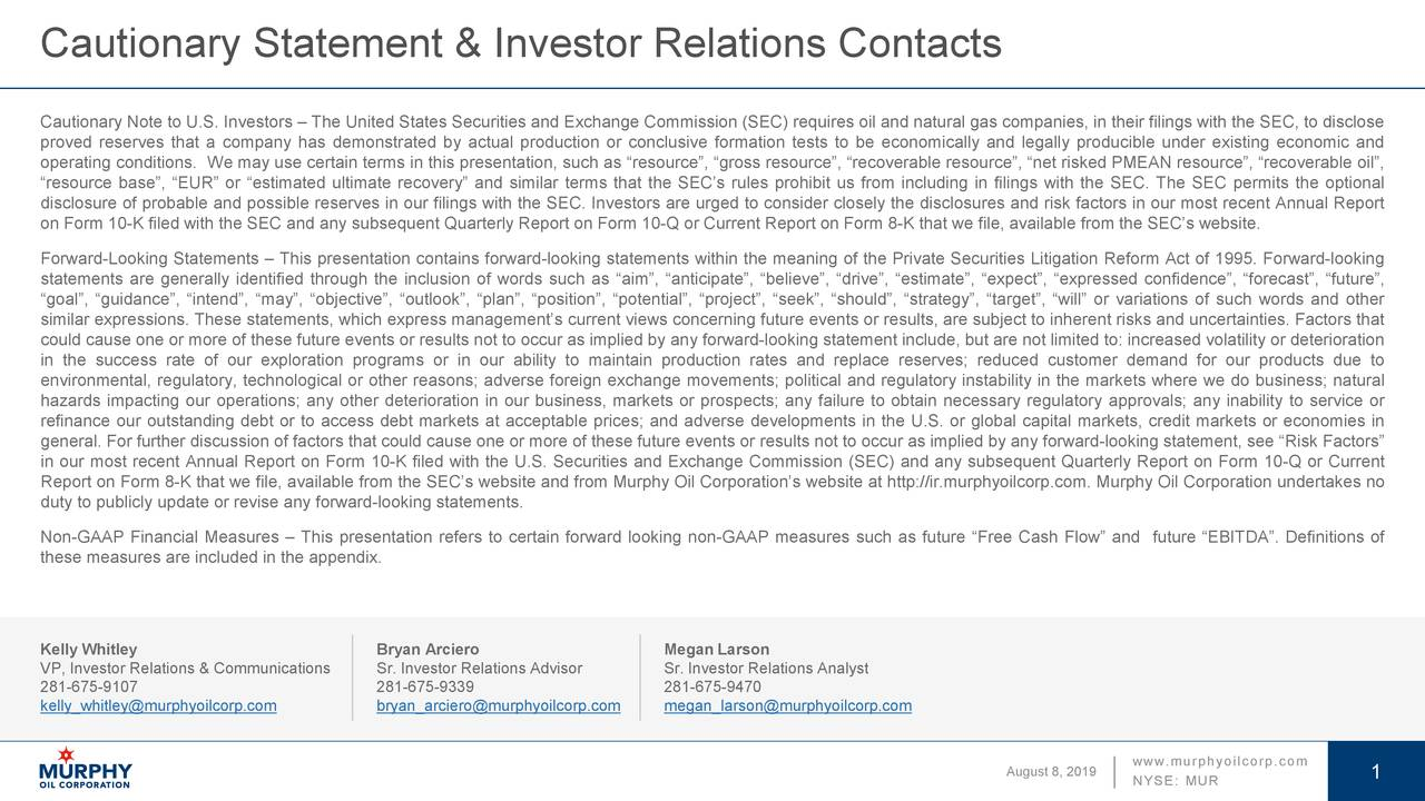 Cautionary Statement & Investor Relations Contacts