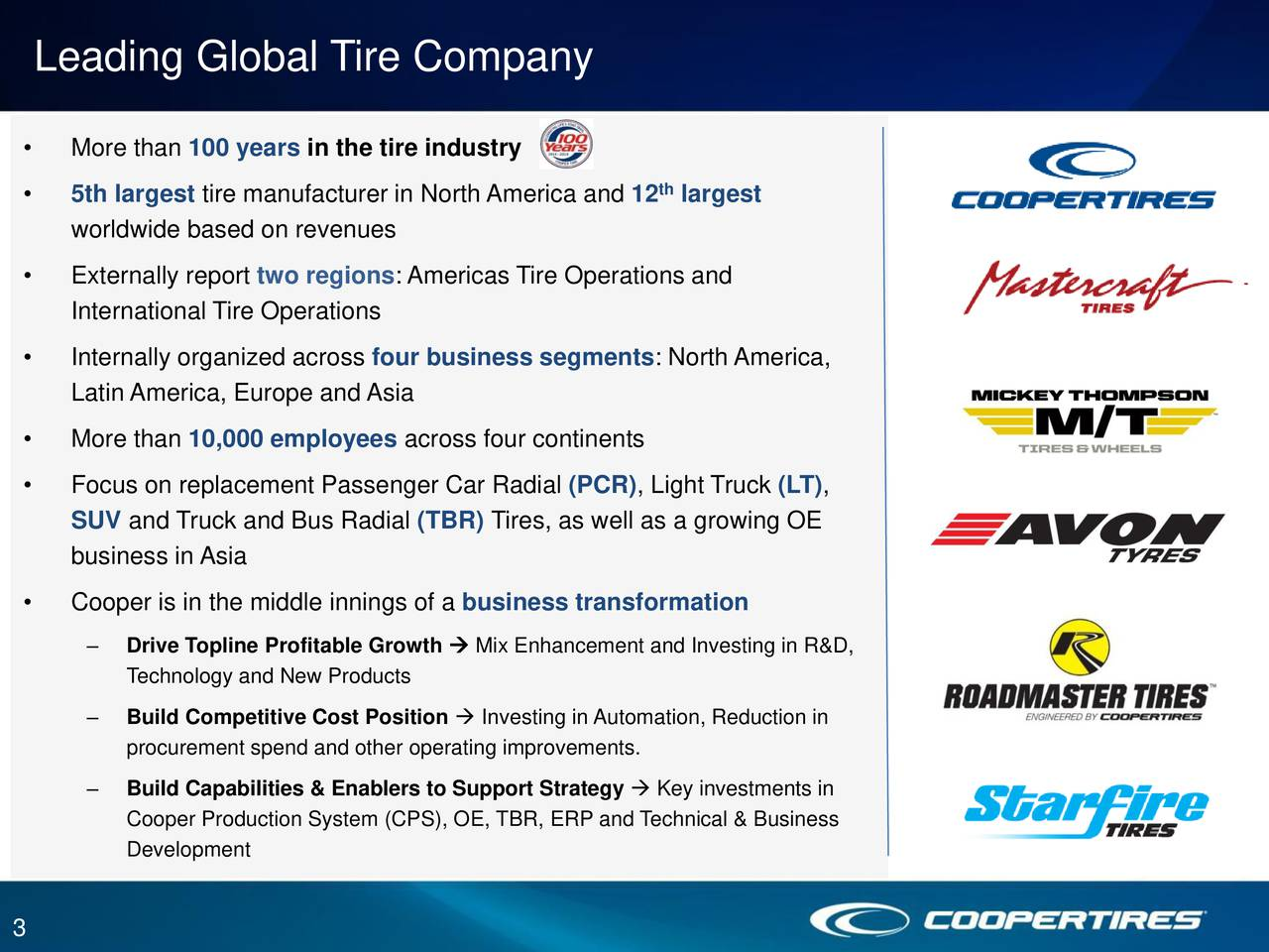 More than 100 years in the tire industry th 5th largest tire manufacturer in North America and 12 largest worldwide based on revenues Externally report two regions: Americas Tire Operations and International Tire Operations Internally organized across four business segments: North America, Latin America, Europe and Asia More than 10,000 employees across four continents Focus on replacement Passenger Car Radial (PCR), Light Truck (LT), SUV and Truck and Bus Radial (TBR) Tires, as well as a growing OE business in Asia Cooper is in the middle innings of a business transformation Drive Topline Profitable Growth  Mix Enhancement and Investing in R&D, Technology and New Products Build Competitive Cost Position  Investing in Automation, Reduction in procurement spend and other operating improvements. Build Capabilities & Enablers to Support Strategy  Key investments in Cooper Production System (CPS), OE, TBR, ERP and Technical & Business Development 3
