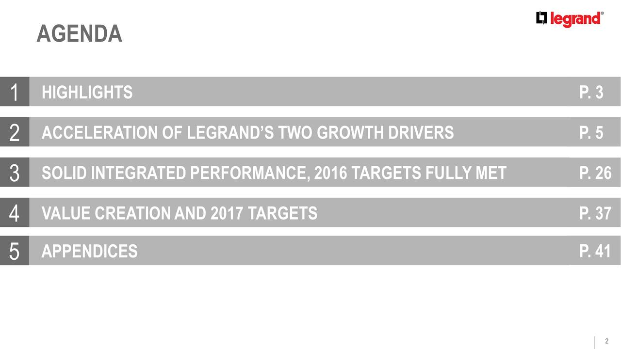 1 HIGHLIGHTS P. 3 2 ACCELERATION OF LEGRANDS TWO GROWTH DRIVERS P. 5 3 SOLID INTEGRATEDPERFORMANCE, 2016 TARGETS FULLY MET P. 26 4 VALUE CREATIONAND 2017 TARGETS P. 37 5 APPENDICES P. 41