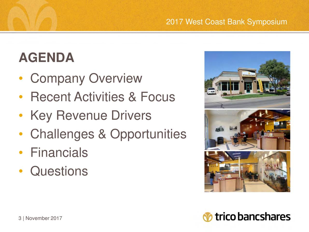 AGENDA • Company Overview • Recent Activities & Focus • Key Revenue Drivers • Challenges & Opportunities • Financials • Questions 3 | November 2017