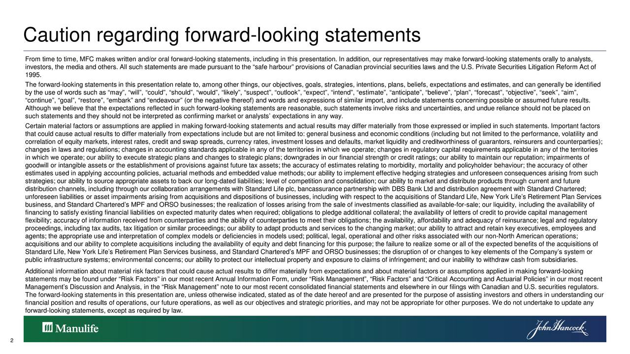 From time to time, MFC makes written and/or oral forward-looking statements, including in this presentation. In addition, our representatives may make forward-looking statements orally to analysts, investors, the media and others. All such statements are made pursuant to the safeharbour provisions of Canadian provincial securities laws and the U.S. Private Securities Litigation Reform Act of 1995. The forward-looking statements in this presentation relate to, among other things, our objectives, goals, strategies, intentions, plans, beliefs, expectations and estimates, and can generally be identified by the use of words such as may, will, could, should, would, likely, suspect, outlook, expect, intendi ate, anticipate, believe, plan, forecast, objective, seek, aim, continue, goal, restore, embark and endeavour (or the negative thereof) and words and expressions of similar import, and include statements concerning possible or assumedu fture results. Although we believe that the expectations reflected in such forward-looking statements are reasonable, such statements involve r isks and uncertainties, and undue reliance should not be placed on such statements and they should not be interpreted as confirming market or analysts expectations in any way. Certain material factors or assumptions are applied in making forward-looking statements and actual results may differ materially from those expressed or implied in such statements. Important factors that could cause actual results to differ materially from expectations include but are not limited to: general business and economic conditions (including but not limited to the performance, volatility and correlation of equity markets, interest rates, credit and swap spreads, currency rates, investment losses and defaults, marketilquidity and creditworthiness of guarantors, reinsurers and counterparties); changes in laws and regulations; changes in accounting standards applicable in any of the territories in which we operate; c
